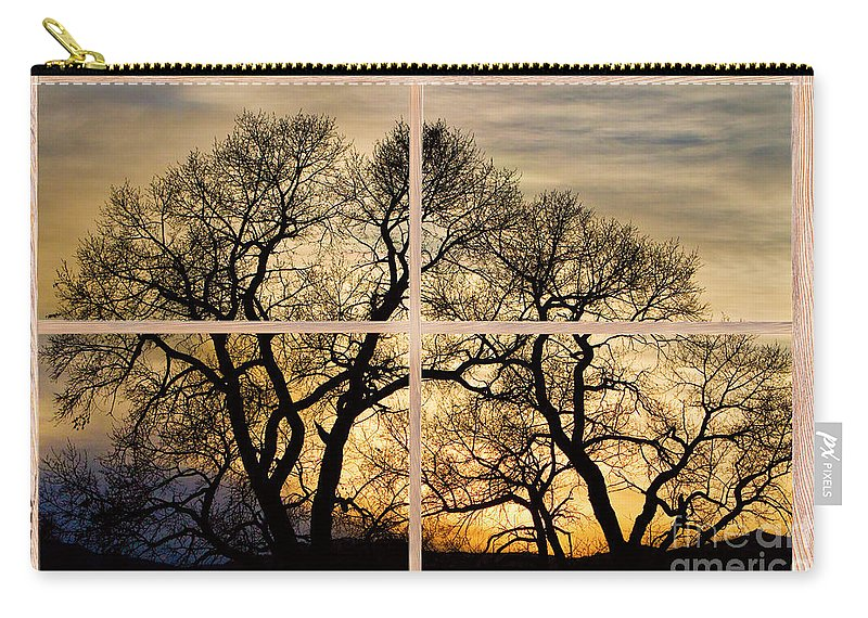 Trees Carry-all Pouch featuring the photograph Dancing Forest Trees Picture Window Frame Photo Art View by James BO Insogna