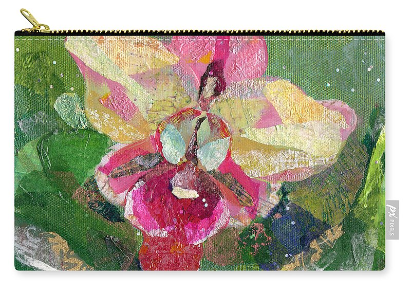 Flower Carry-all Pouch featuring the painting Dancing Orchid I by Shadia Derbyshire