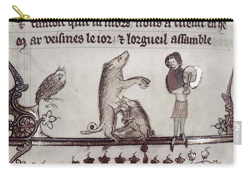 1340 Carry-all Pouch featuring the painting Dancing Pig, 14th Century by Granger