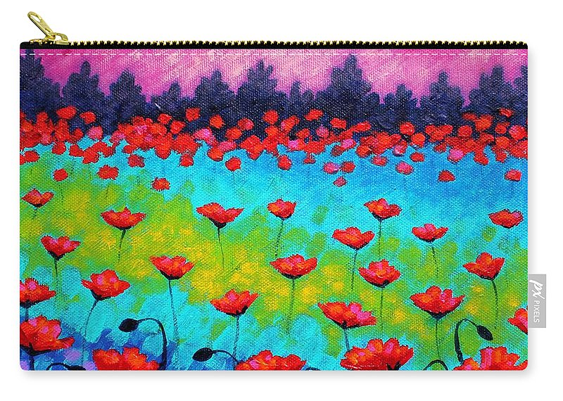 Landscape Carry-all Pouch featuring the painting Dancing Poppies by John Nolan