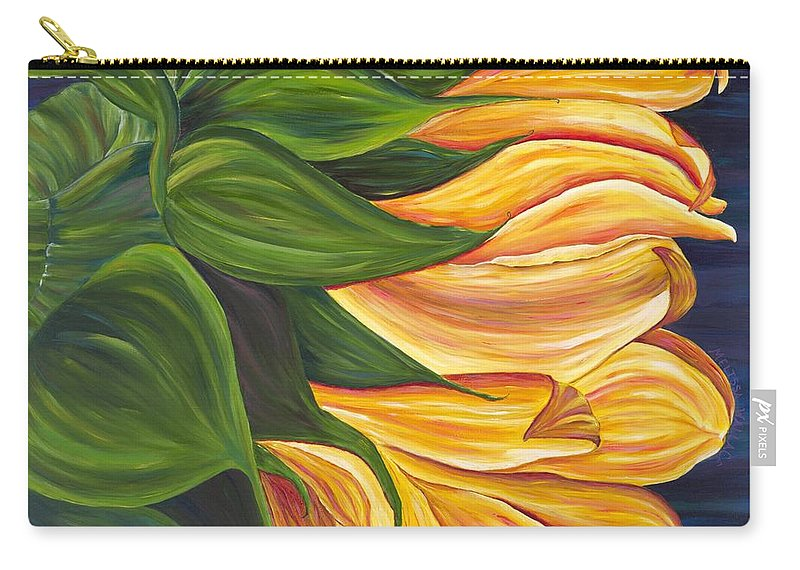 Sunflower Carry-all Pouch featuring the painting Dancing Sunflower by Melissa Wallace