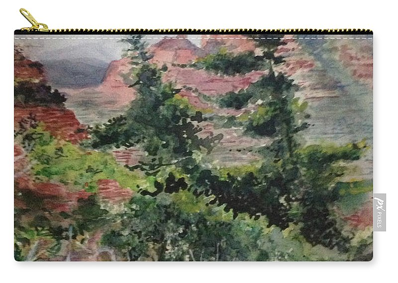 Mountains Carry-all Pouch featuring the painting Dancing Trees by Kathy Sievering