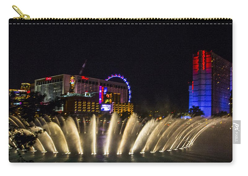 Las Vegas Carry-all Pouch featuring the photograph Dancing Waters 4 by Angus Hooper Iii