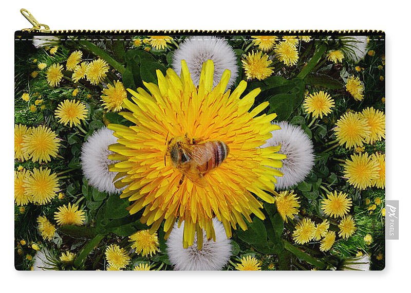 Rainbow Carry-all Pouch featuring the photograph Dandelion Grove Mandala by Susan Bloom