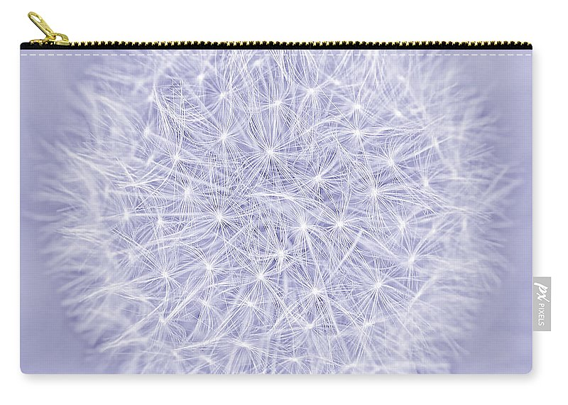 Dandelion Carry-all Pouch featuring the photograph Dandelion Marco Abstract Lavender by Jennie Marie Schell