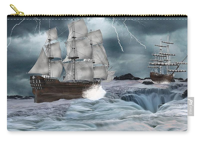 Ships Carry-all Pouch featuring the digital art Danger Ahead by Davandra Cribbie