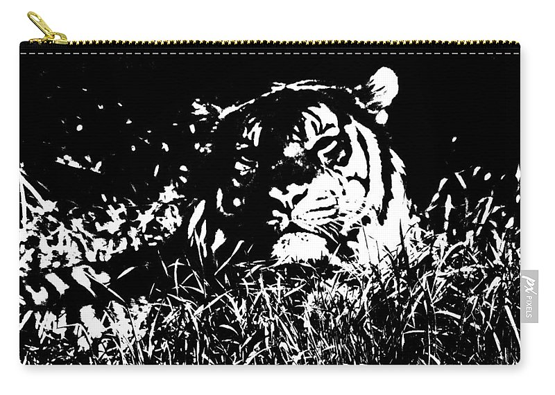 Tiger Carry-all Pouch featuring the photograph Danger In The Shadows by Myrna Bradshaw