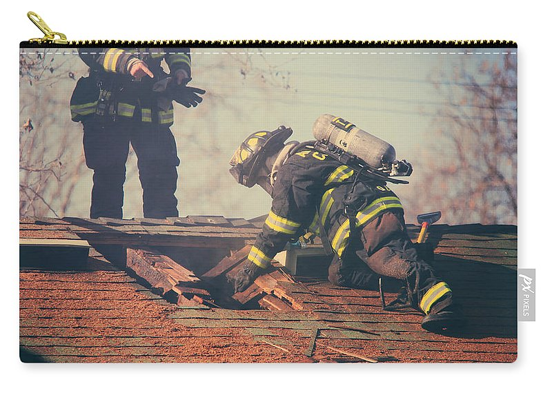 Firemen Carry-all Pouch featuring the photograph Dangerous Work by Laurie Search