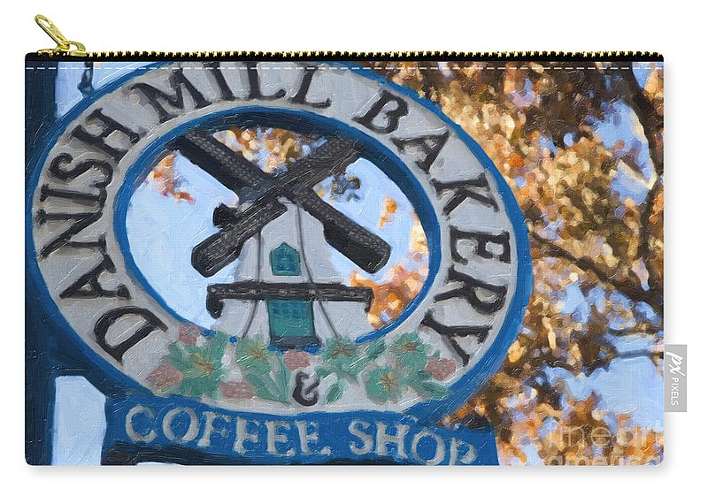 Danish Mill Bakery Carry-all Pouch featuring the painting Danish Mill Bakery In Solvang California by David Millenheft