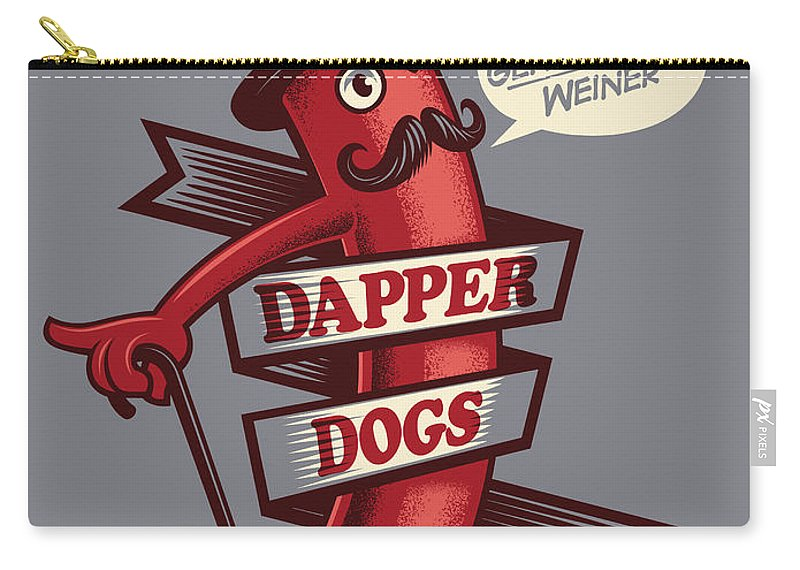 Walking Cane Carry-all Pouch featuring the digital art Dapperdogs by Leonryan.com