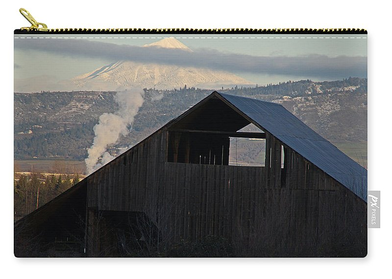 Barn Carry-all Pouch featuring the photograph Dark Barn And Mt Mclaughlin by Mick Anderson