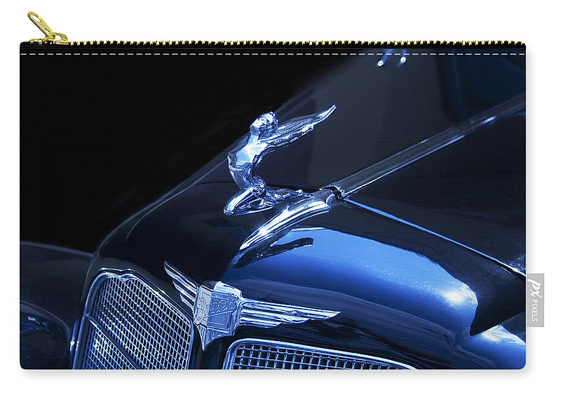 Winged Carry-all Pouch featuring the photograph Dark Blue Classic Buick Flying Lady Hood Ornament by Kathy Clark