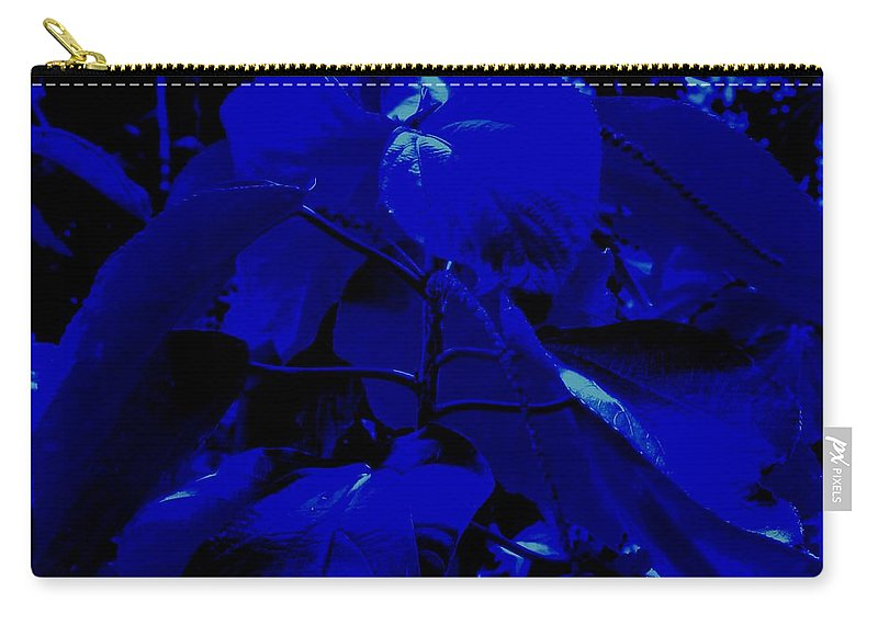 Leaves Carry-all Pouch featuring the photograph Dark Blue Leaves by Ian MacDonald