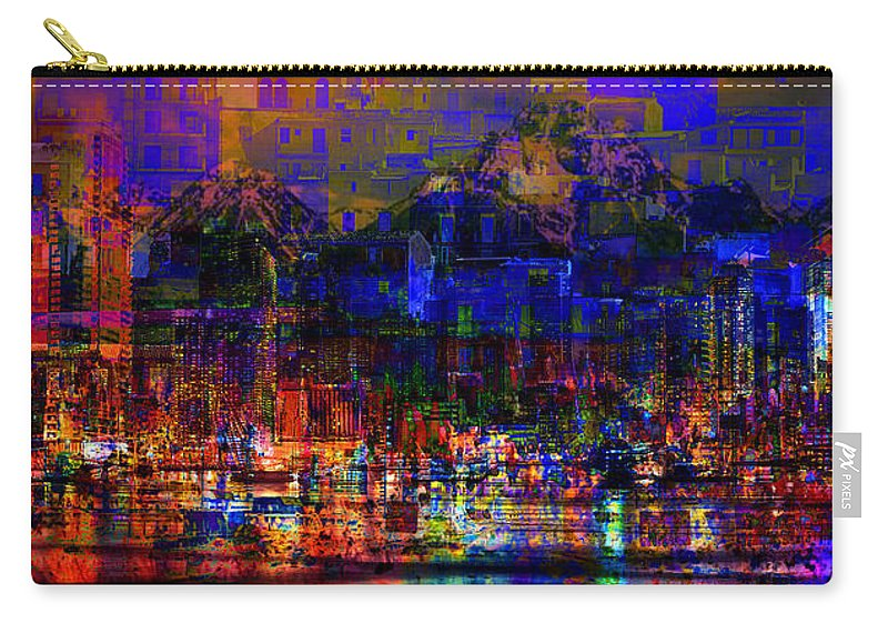 City Carry-all Pouch featuring the digital art Dark City Lights Cityscape by Mary Clanahan