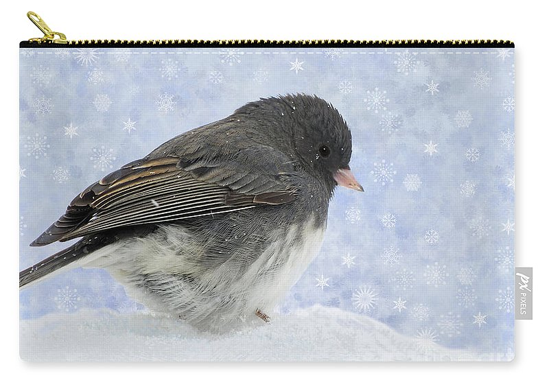 Avian Carry-all Pouch featuring the photograph Dark Eyed Junco - Digital Snowflakes by Debbie Portwood