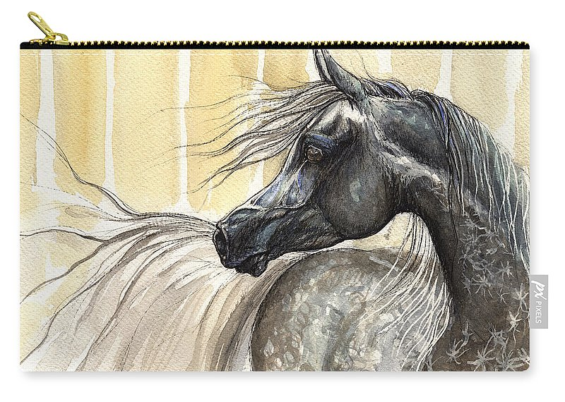 Horse Carry-all Pouch featuring the painting Dark Grey Arabian Horse 2014 02 17 by Angel Ciesniarska