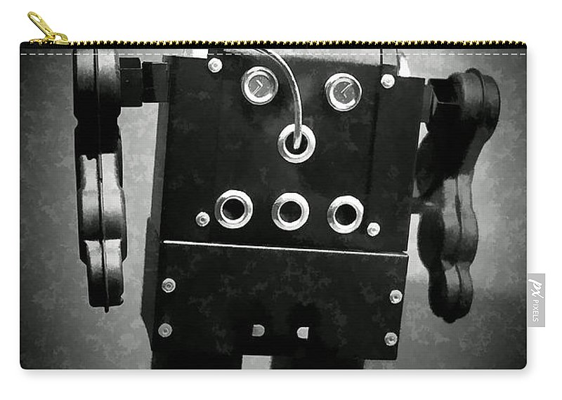 Robot Carry-all Pouch featuring the photograph Dark Metal Robot Oil by Edward Fielding