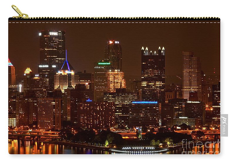 Pittsburgh Pennsylvania Carry-all Pouch featuring the photograph Dark Pittsburgh Skyline by Adam Jewell