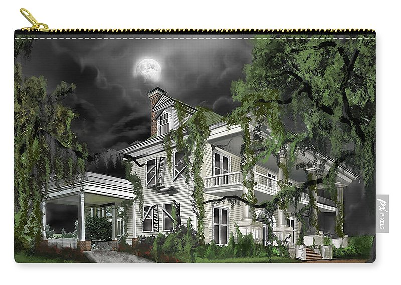 Carry-all Pouch featuring the painting Dark Plantation House by James Christopher Hill