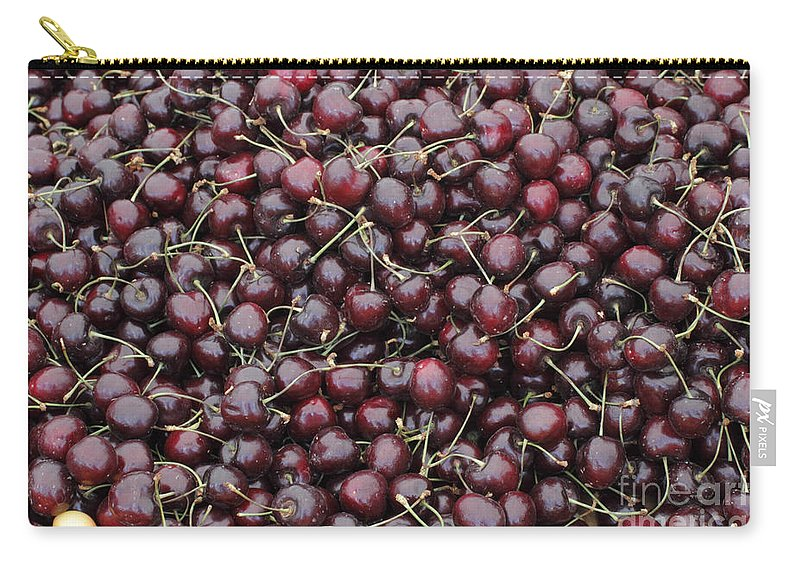 Dark Carry-all Pouch featuring the photograph Dark Red Cherries For Sale by Lee Serenethos
