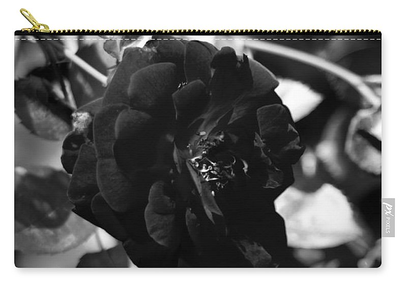 Dark Rose Picture Carry-all Pouch featuring the photograph Dark Rose In Black And White by Kitrina Arbuckle