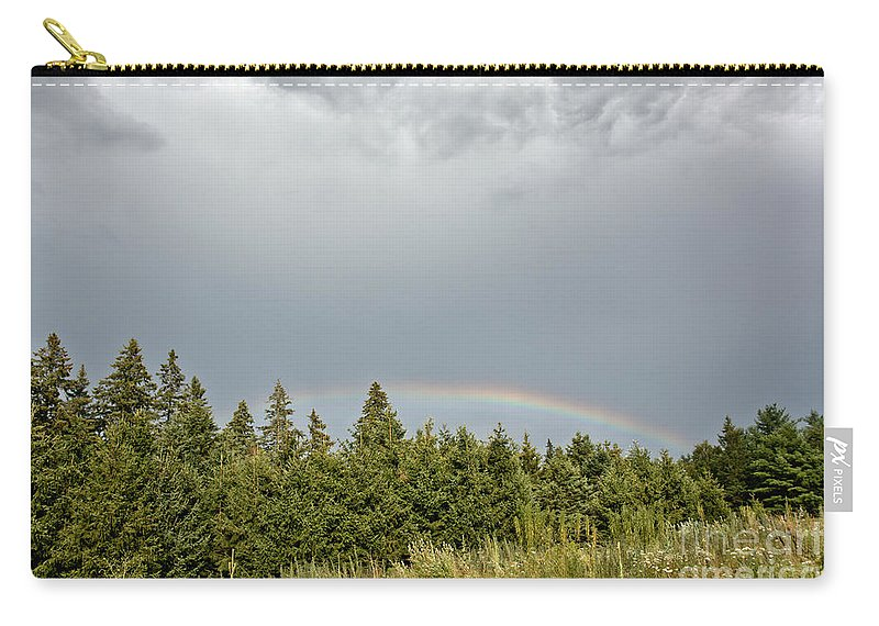 Rainbow Carry-all Pouch featuring the photograph Dark Skies With Rainbow by Cheryl Baxter