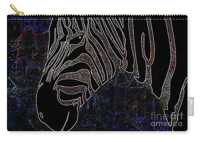 Animals Carry-all Pouch featuring the photograph Dark Zebra by Ben Yassa