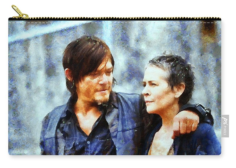 The Walking Dead Carry-all Pouch featuring the painting Daryl And Carol by Janice MacLellan