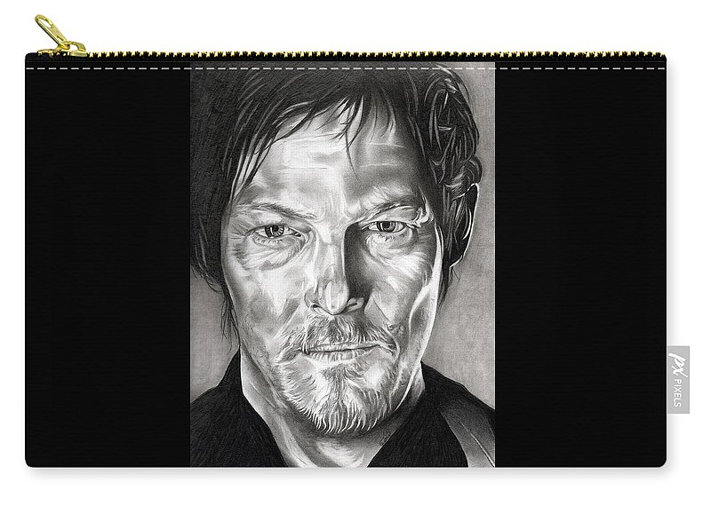 Daryl Carry-all Pouch featuring the drawing Daryl Dixon - The Walking Dead by Fred Larucci