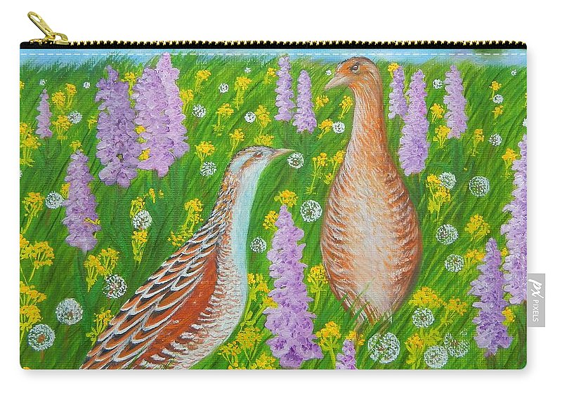 Landscape Carry-all Pouch featuring the painting Dating When Orchids Blooming by Loreta Mickiene