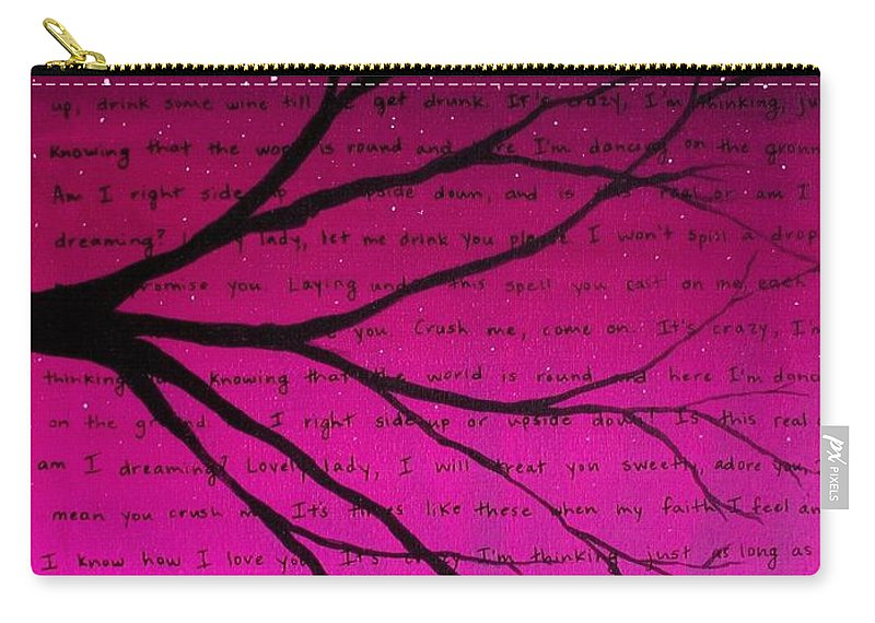 Pink Carry-all Pouch featuring the painting Dave Matthews Band Crush Lyric Art - Pink by Michelle Eshleman