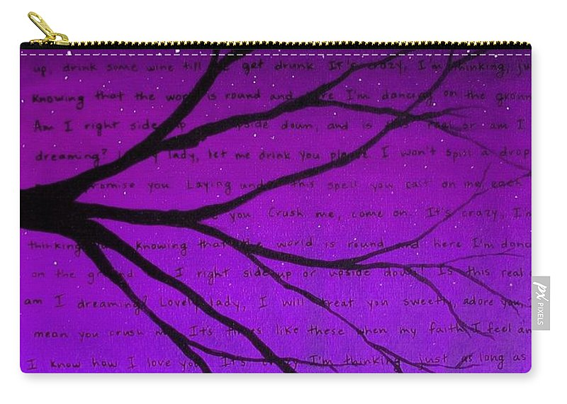 Purple Carry-all Pouch featuring the painting Dave Matthews Band Crush Lyric Art - Purple by Michelle Eshleman