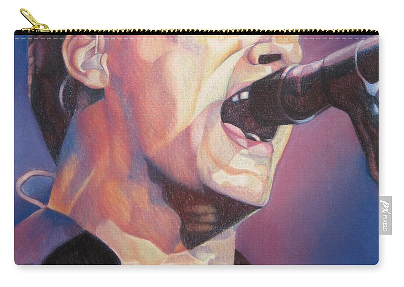 Dave Matthews Carry-all Pouch featuring the drawing Dave Matthews Colorful Full Band Series by Joshua Morton