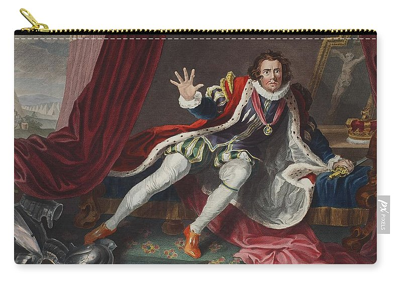 Actor Carry-all Pouch featuring the drawing David As Richard IIi, Illustration by William Hogarth