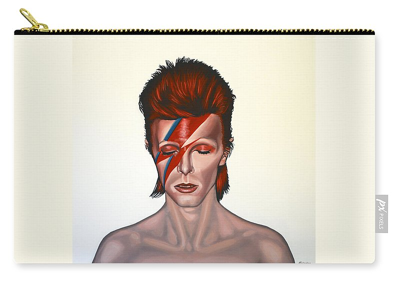 David Bowie Carry-all Pouch featuring the painting David Bowie Aladdin Sane by Paul Meijering