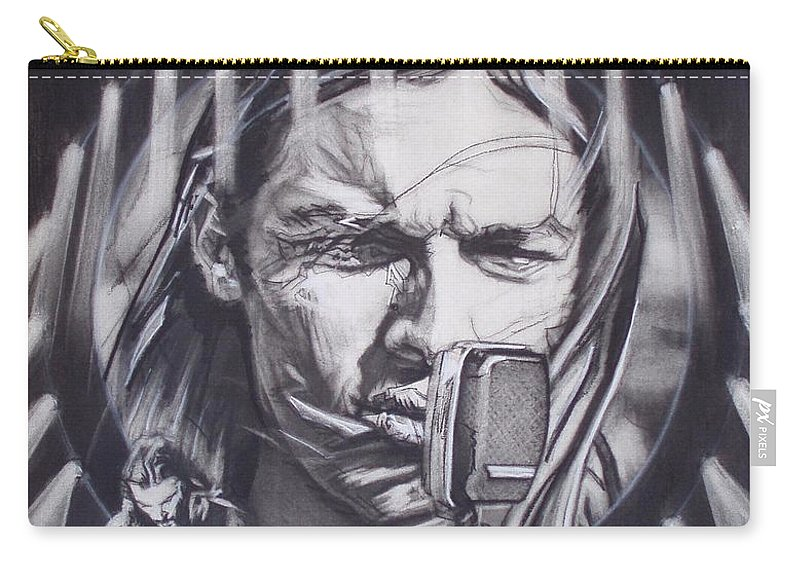 Portrait;live Performance;guitar;music;concert;lights;flight;gulls;seabirds Carry-all Pouch featuring the drawing David Gilmour Of Pink Floyd - Echoes by Sean Connolly
