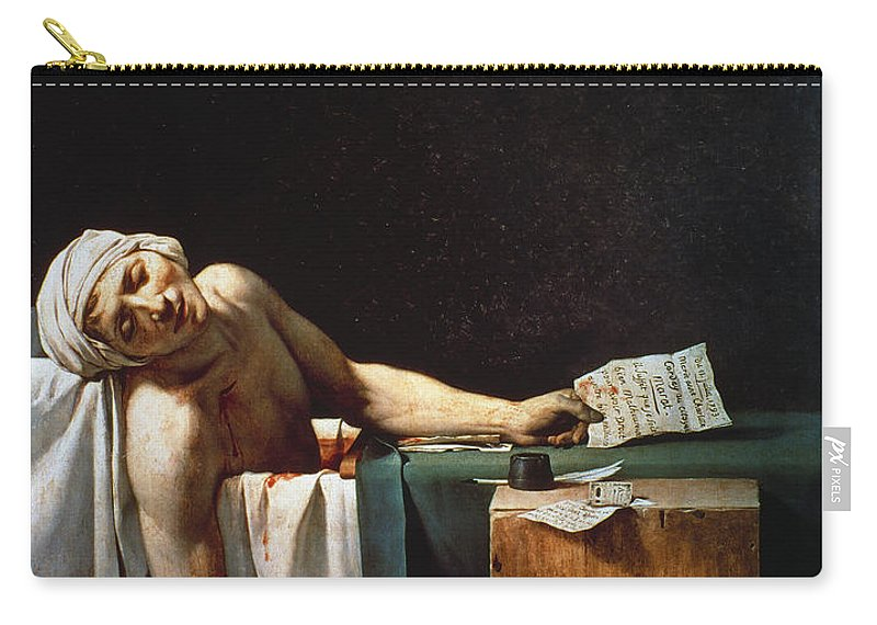 1793 Carry-all Pouch featuring the photograph David: The Death Of Marat by Granger