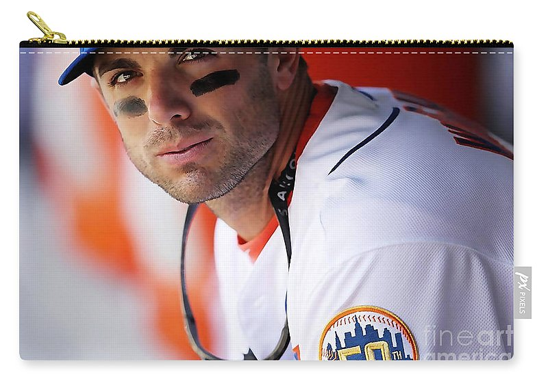Baseball Carry-all Pouch featuring the mixed media David Wright by Marvin Blaine