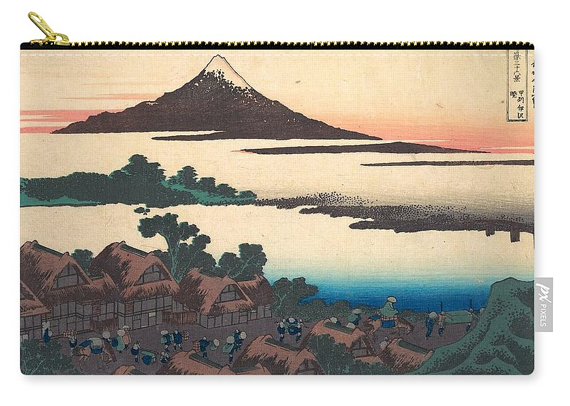 1830-1832 Carry-all Pouch featuring the painting Dawn At Isawa In Kai Province by Katsushika Hokusai
