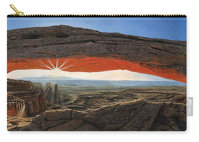 Mesa Arch Carry-all Pouch featuring the painting Dawn At Mesa Arch Canyonlands Utah by Richard Harpum