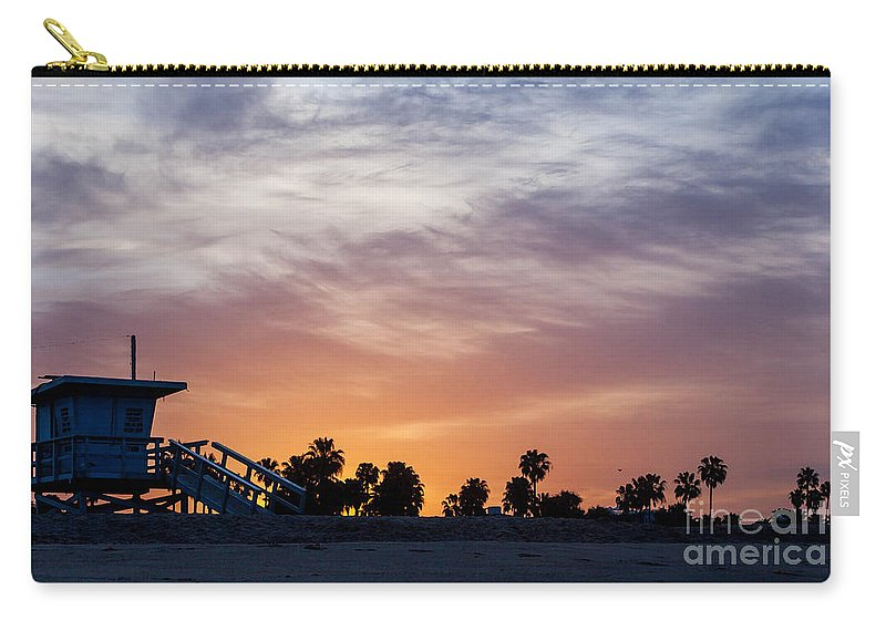 Venice Beach Carry-all Pouch featuring the photograph Dawn At Venice Beach by Art Block Collections