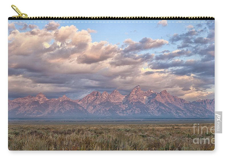 Grand Teton Carry-all Pouch featuring the photograph Dawn In The Grand Tetons by Sandra Bronstein