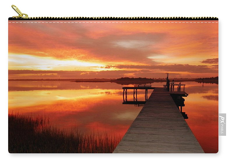 Orange Waterscapes Carry-all Pouch featuring the photograph Dawn Of New Year by Karen Wiles