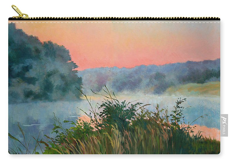 Impressionism Carry-all Pouch featuring the painting Dawn Reflection by Keith Burgess