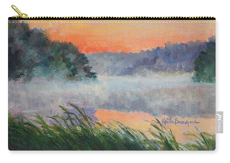Impressionism Carry-all Pouch featuring the painting Dawn Reflection Study by Keith Burgess