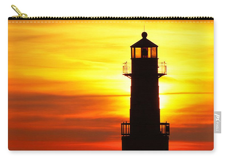 Lighthouse Carry-all Pouch featuring the photograph Dawn's Brighter Light by Bill Pevlor