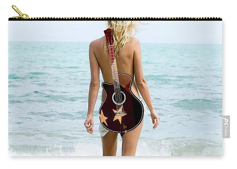 Guitar Digital Art Carry-all Pouch featuring the mixed media Day At The Beach by Marvin Blaine