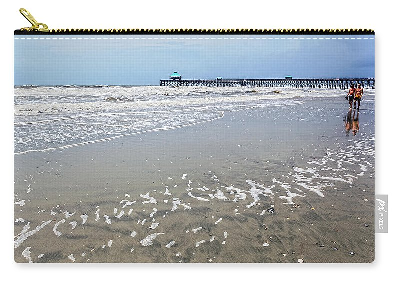Beach Life Guard Carry-all Pouch featuring the photograph Day At The Beach by Sennie Pierson