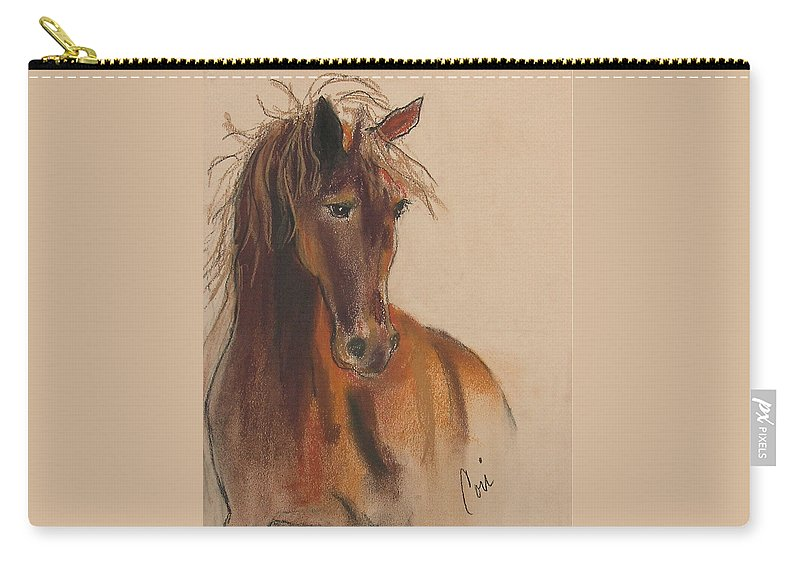 Horse Carry-all Pouch featuring the drawing Day Dreamer by Cori Solomon