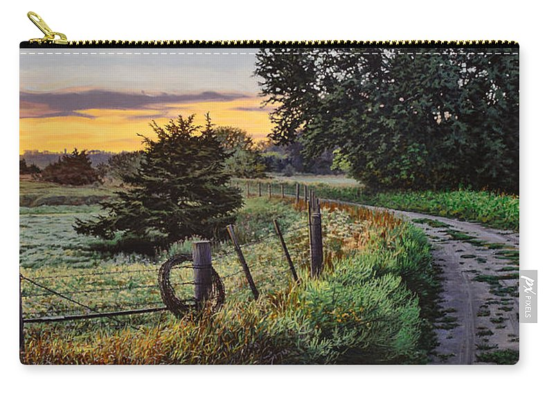 Landscape Carry-all Pouch featuring the painting Daybreak Southwest Corner Fenceline by Bruce Morrison